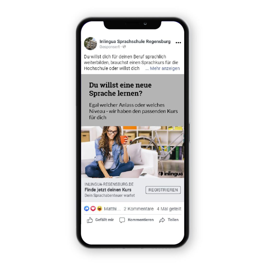 Referenz Inlingua Facebook Ads